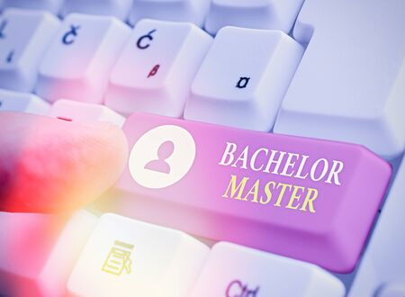Writing note showing Bachelor Master. Business concept for An advanced degree completed after bachelor s is degree Banco de Imagens