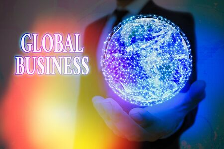 Handwriting text Global Business. Conceptual photo Trade and business system a company doing across the world 版權商用圖片