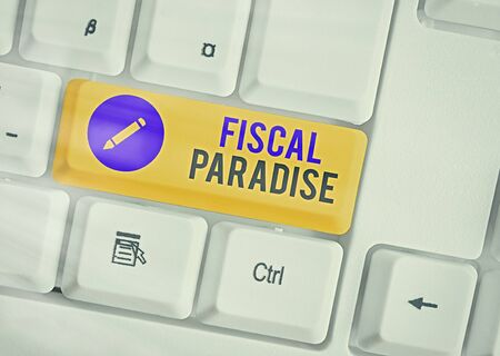 Word writing text Fiscal Paradise. Business photo showcasing The waste of public money is a great concern topic