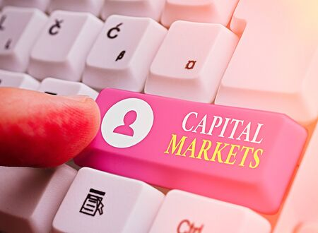Writing note showing Capital Markets. Business concept for Allow businesses to raise funds by providing market security