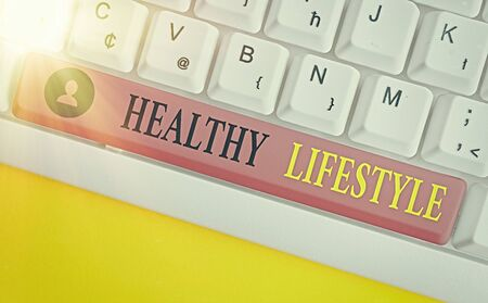 Conceptual hand writing showing Healthy Lifestyle. Concept meaning Live Healthy Engage in physical activity and exercise