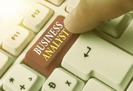 Conceptual hand writing showing Business Analyst. Concept meaning someone who analyzes big organization or website domain