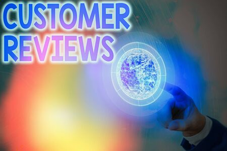 Text sign showing Customer Reviews. Business photo showcasing review of product or service made by client who has used