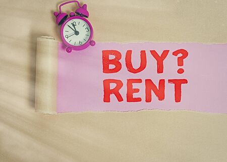 Handwriting text writing Buy Question Rent. Conceptual photo Group that gives information about renting houses