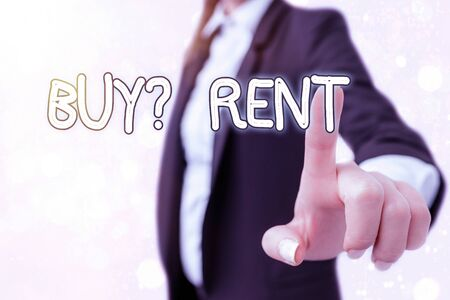 Writing note showing Buy Question Rent. Business concept for Group that gives information about renting houses