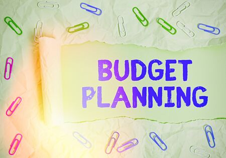 Word writing text Budget Planning. Business photo showcasing The written description about current and future expenses