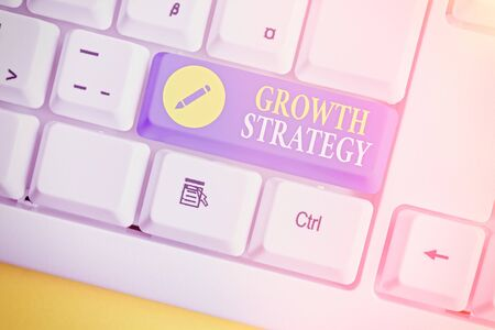 Text sign showing Growth Strategy. Business photo showcasing Strategy aimed at winning larger market share in shortterm