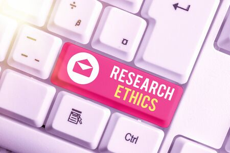 Writing note showing Research Ethics. Business concept for interested in the analysis of ethical issues that raised