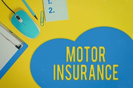 Word writing text Motor Insurance. Business photo showcasing Provides financial compensation to cover any injuries Metal clipboard blank paper sheet clip mouse pencil note colored background