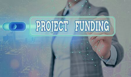 Writing note showing Project Funding. Business concept for paying for start up in order make it bigger and successful