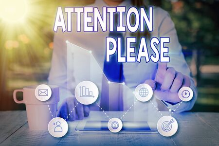 Handwriting text Attention Please. Conceptual photo asking showing sop doing anything and concentrate with you Stock Photo