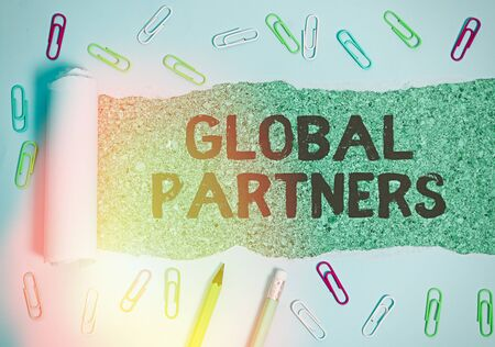 Writing note showing Global Partners. Business concept for Two or more firms from different countries work as a team