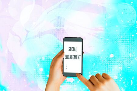 Text sign showing Social Engagement. Business photo showcasing Degree of engagement in an online community or society