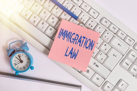 Handwriting text Immigration Law. Conceptual photo Emigration of a citizen shall be lawful in making of travel Empty copy space red note paper bubble above pc keyboard for text message Фото со стока