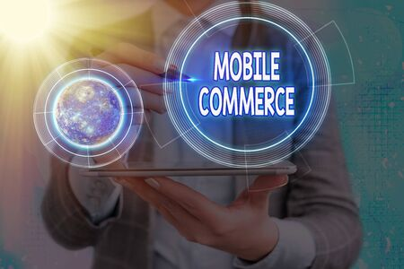 Conceptual hand writing showing Mobile Commerce. Concept meaning Using mobile phone to conduct commercial transactions online