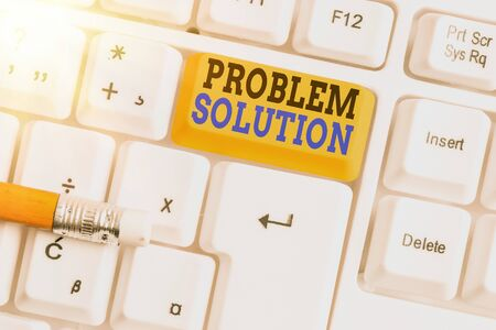 Word writing text Problem Solution. Business photo showcasing solving consists of using generic methods in orderly manner