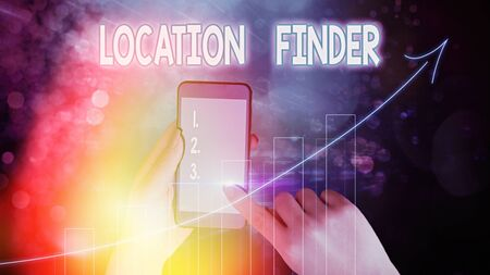 Text sign showing Location Finder. Business photo text A service featured to find the address of a selected place
