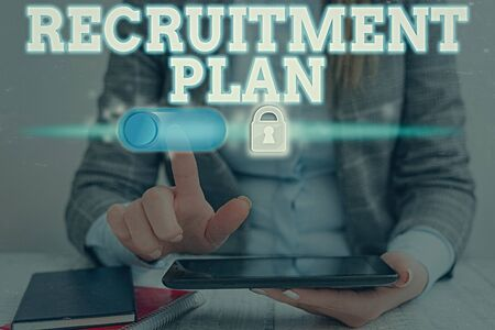 Conceptual hand writing showing Recruitment Plan. Concept meaning saving money in order to use it when you quit working Фото со стока