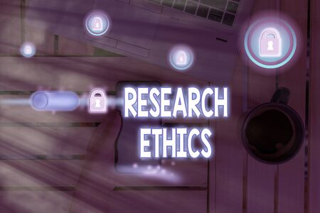Text sign showing Research Ethics. Business photo text interested in the analysis of ethical issues that raised