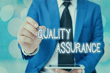 Word writing text Quality Assurance. Business photo showcasing Ensures a certain level of quality Established requirement Stok Fotoğraf