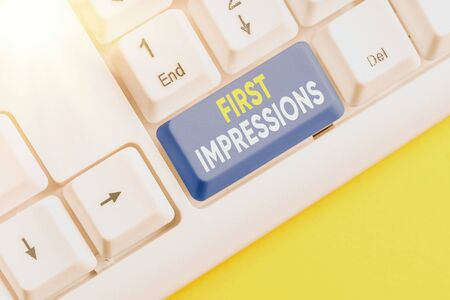 Text sign showing First Impressions. Business photo text What an individual thinks of you when they first meet you Banque d'images