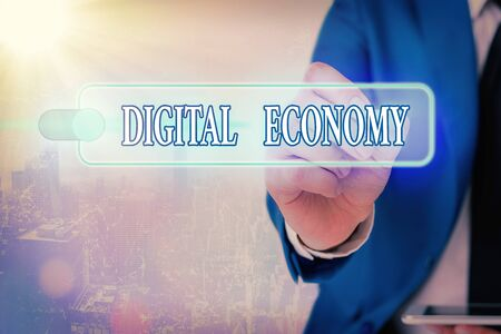 Writing note showing Digital Economy. Business concept for worldwide network of economic activities and technologies