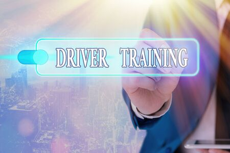 Writing note showing Driver Training. Business concept for prepares a new driver to obtain a driver s is license