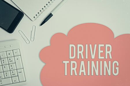 Text sign showing Driver Training. Business photo showcasing prepares a new driver to obtain a driver s is license Business concept with blank white space for advertising and text message