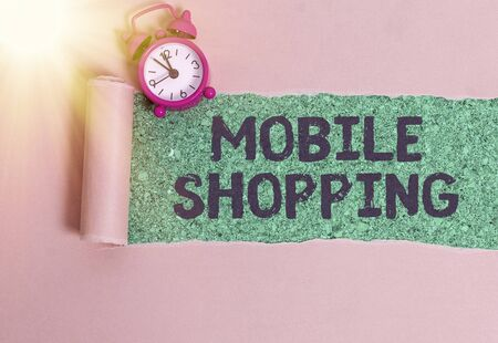 Word writing text Mobile Shopping. Business photo showcasing Buying and selling of goods and services through mobile