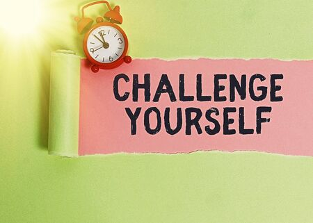 Text sign showing Challenge Yourself. Business photo text Setting Higher Standards Aim for the Impossible Stockfoto