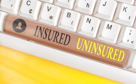 Conceptual hand writing showing Insured Uninsured. Concept meaning Company selling insurance Checklist to choose from