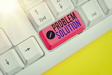 Writing note showing Problem Solution. Business concept for solving consists of using generic methods in orderly manner