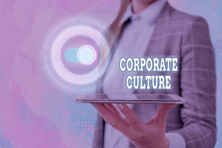 Text sign showing Corporate Culture. Business photo showcasing Beliefs and ideas that a company has Shared values
