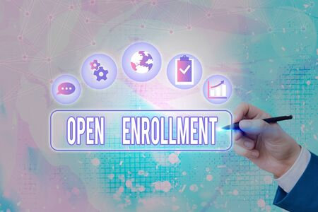 Text sign showing Open Enrollment. Business photo text The yearly period when showing can enroll an insurance