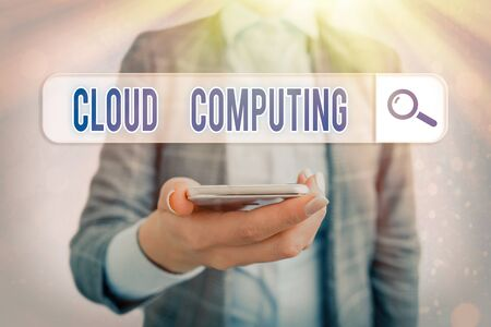 Conceptual hand writing showing Cloud Computing. Concept meaning use a network of remote servers hosted on the Internet Banco de Imagens