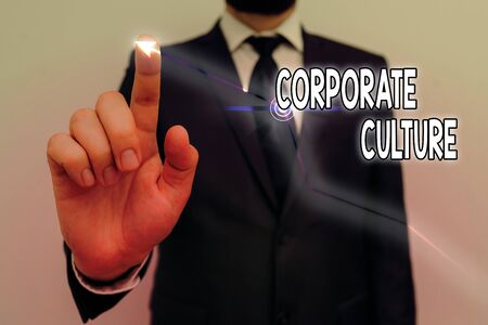 Word writing text Corporate Culture. Business photo showcasing Beliefs and ideas that a company has Shared values