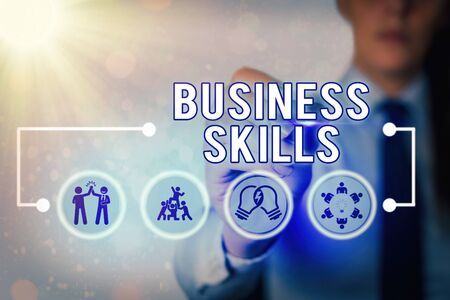 Writing note showing Business Skills. Business concept for An ability to acquire systematic effort of job functions