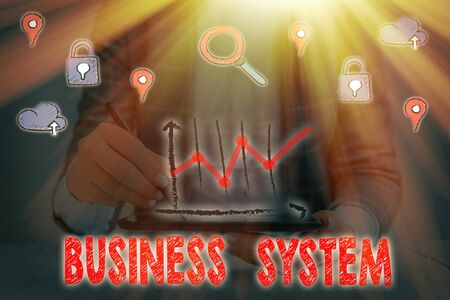 Text sign showing Business System. Business photo showcasing A method of analyzing the information of organizations