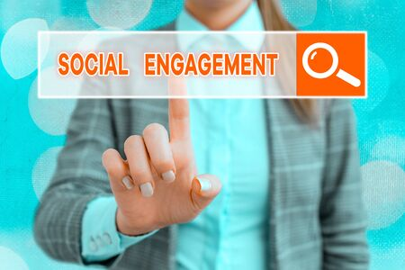 Handwriting text writing Social Engagement. Conceptual photo Degree of engagement in an online community or society