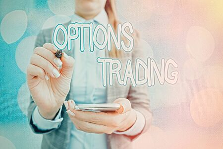 Text sign showing Options Trading. Business photo text Different options to make goods or services spread worldwide