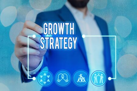 Text sign showing Growth Strategy. Business photo text Strategy aimed at winning larger market share in shortterm Stock fotó