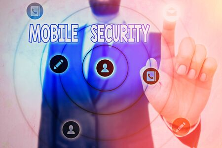 Conceptual hand writing showing Mobile Security. Concept meaning Protection of mobile phone from threats and vulnerabilities Imagens