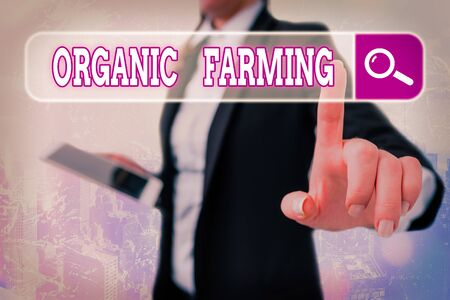 Writing note showing Organic Farming. Business concept for an integrated farming system that strives for sustainability