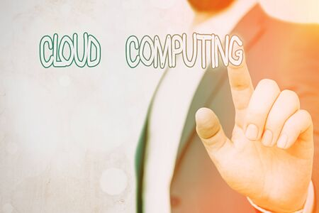 Text sign showing Cloud Computing. Business photo showcasing use a network of remote servers hosted on the Internet