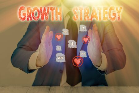 Text sign showing Growth Strategy. Business photo text Strategy aimed at winning larger market share in shortterm