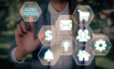 Handwriting text writing Global Partners. Conceptual photo Two or more firms from different countries work as a team