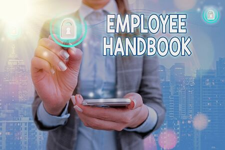 Conceptual hand writing showing Employee Handbook. Concept meaning Document that contains an operating procedures of company