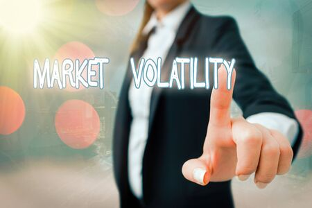 Writing note showing Market Volatility. Business concept for Underlying securities prices fluctuates Stability status