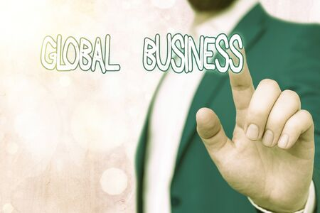 Text sign showing Global Business. Business photo showcasing Trade and business system a company doing across the world