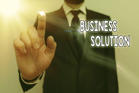 Word writing text Business Solution. Business photo showcasing Services that include strategic planning and evaluation